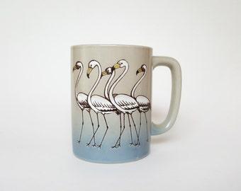 RESERVED for Allie K. - Vintage Stoneware Mug : Flamingos