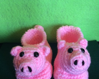 Crochet Pig Piggy Baby Booties!