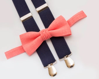 coral bow tie & navy blue suspenders, ring bearer outfit, groomsmen bow tie suspenders