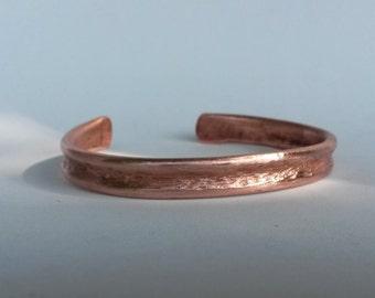 Hammered copper cuff bangle bracelet