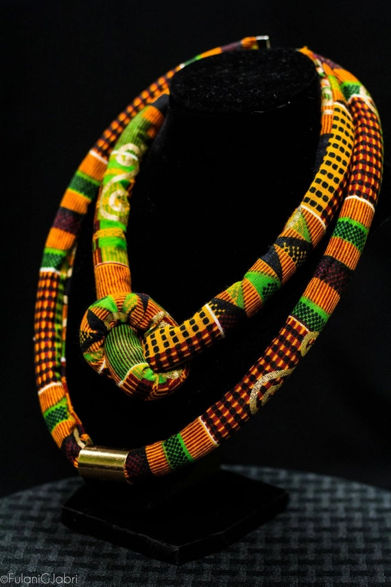African Kente Fabric Necklace Kente Rope Necklace Kente