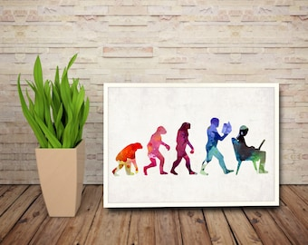 Watercolor Evolution of man art print. Evolution Watercolor painting, Watercolor painting, Wall Art printable, Wall poster
