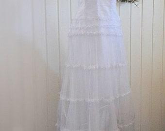 Vintage french silk wedding dress, french designer, rustic wedding, boho