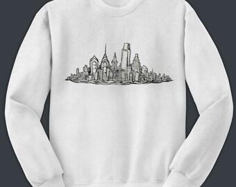 Philadelphia Skyline Sweatshirt - Black Ink Skyline Philly Art Design Crewneck Shirt - Philly Graphic Art Tshirt by Local Artist - 1003