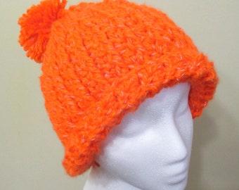 Reflective orange ribbed winter hat