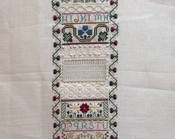 Peggy - Indigo Rose - Unframed Finished Cross Stitch Sampler - 36 ct Linen