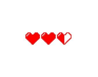 8 bit heart life meter <3<3</3 (durable vinyl sticker decal)...