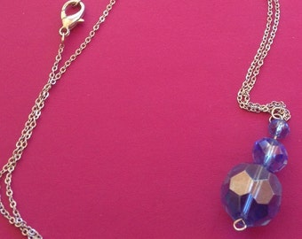 """Sterling silver with blue crystals  12"""" necklace"""