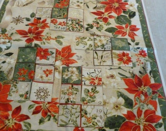 POINSETTIA ADVENT CALENDAR with Flowers. Done in golds, reds, whites, browns and greens.
