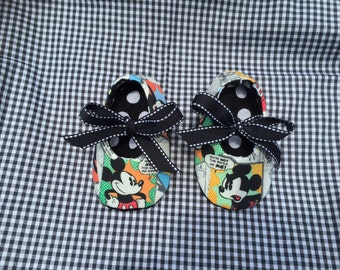 Mickey Mouse-comic vintage themed; baby Mary Jane shoes.