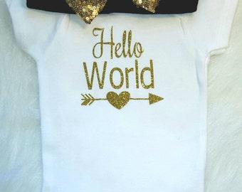 Hello World Onesie,Newborn Take Home Outfit, Baby Shower Gift, Birth, Baby Girl Onesie, Glitter bodysuit
