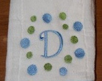 Custom appliqued  circle dot and chevron burp cloth