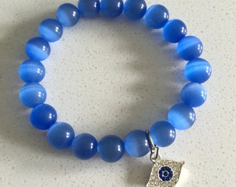 Blue Cat's Eye with Evil Eye Charm