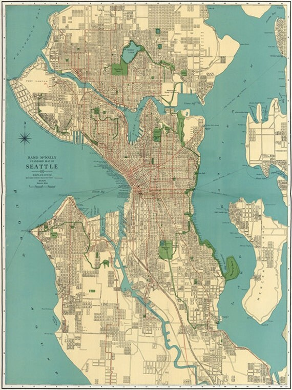 Vintage S Seattle STREET MAP City Of Seattle - Seattle us map