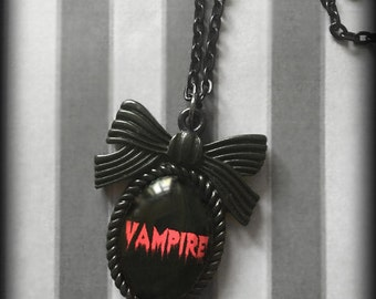 Glass Cameo Gothic Vampire Necklace