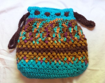 Crochet Drawstring Purse with Liner-FREE SHIPPING