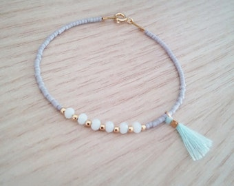 Beaded bracelet, crystal bracelet, sterling silver bracelet, boho bracelet, tassel bracelet