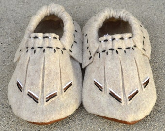 The Wilder Moccasin, Boho Baby Moccasins 12-18 mo.
