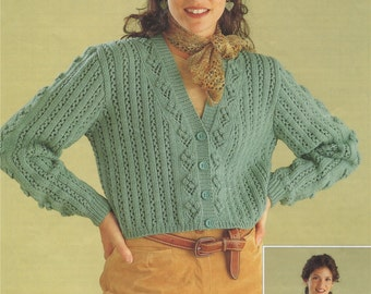 Womens Crop Cardigan PDF Knitting Pattern . Round and V - Neck . Ladies 30, 32, 34, 36, 38 and 40 inch bust . Patterned Cardigan . PDF