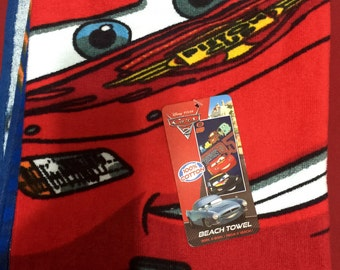 Personalized Beach Towel, Embroidered Cars 2 Lightning McQueen Mater Beach Towel