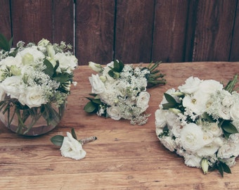 Whimsy in White DIY Wedding Flower Package- Outdoor Wedding- White Wedding - Fresh Wedding Flowers- DIY Bridal Bouquet