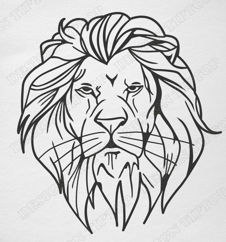 T te de lion svg dxf imprimer et d couper silhouette - Tete de lion a dessiner ...