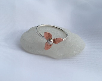 Flower Ring, Sterling Silver flower Ring, Copper flower Ring, Mixed Metal Ring, Pretty Ring