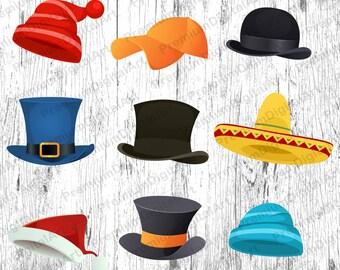 9 Hats Clipart,painted hat,Santa hat Clipart,St. Patrick hat Clipart,sombrero Clipart,cylinder Clipart,bowler hat Clipart, cap,scrapbooking