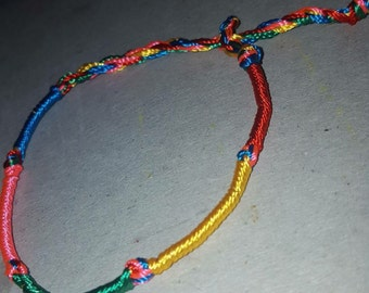Mixed rainbow thread friendship bracelets