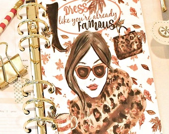 Glam Girl Planner Dashboard, DRESS Like You're ALREADY FAMOUS, Dashboard, A5 Dashboard, Planner Dividers, Personal Planner, Planner Inserts