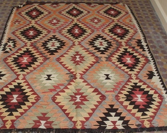 7 x 5 ft pastel diamond pattern handwoven turkish kilim rug