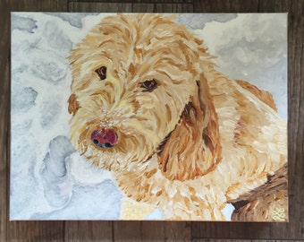 Goldendoodle Pet Portrait - Original Acrylic Art by LL - Any size you want!  GOLDENDOODLE!  Custom.