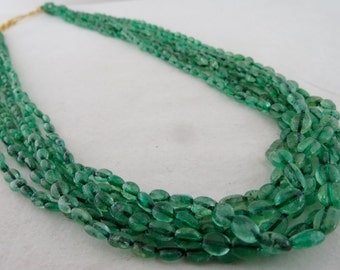 Old Estate Antique 6 Line 470Carats NATURAL Colombian EMERALD Long Beads Bunch NECKLACE