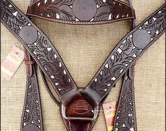 Hilason Dark Brown Headstall Breast Collar w/ Snake Print Inlay