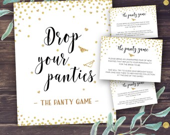 Panty Game, Drop Your Panties, Bridal Shower Games, Bachelorette Party Game, Sexy lingerie, Printable Wedding Shower, Instant Download, Gold