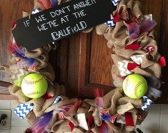 Baseball softball burlap wreath