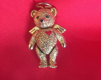 Vintage Batva Angel Bear Pendant Brooch