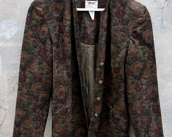 80s FELLINI Floral Coat // Size 12