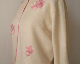 Vintage 1960s Strawberry Pink & Ivory Cardigan - Embroidered - Silk Trim