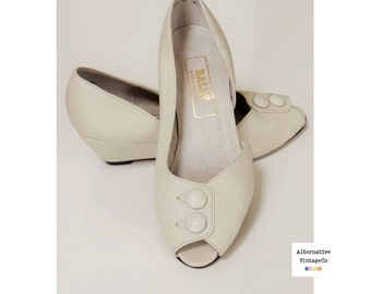 Vintage 1980's Bally Wedge Heel Shoes, Off White, UK 3 US 5 EUR 36