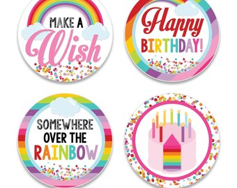 Rainbow Wishes Digital Two Inch Party Circles Girls Birthday Party Printable Rainbow Cupcake Toppers INSTANT DOWNLOAD