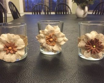 Country Chic Votives - set of 3