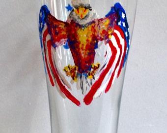 Hand Painted USA Pilsner Glass