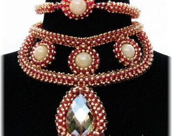 "Beaded Necklace ""Golden Tear"""