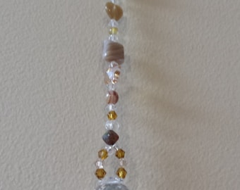 Crystalball beaded Sun catcher, prism, rainbow maker, swarovski crystal butterflies window decor Brown and cream