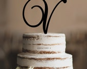 Personalized Monogram Initial Wedding Cake Toppers -Letter V, Custom Monogram Cake Toppers, Traditional Initial Toppers-(T285)