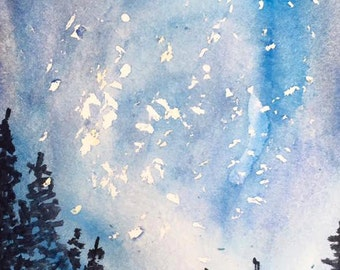 Midnight Forest Watercolor