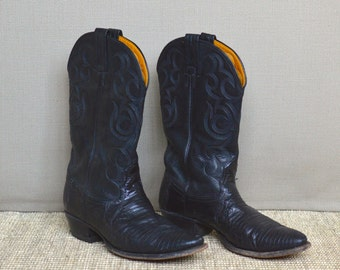 Nocona Black Lizard Cowboy Boots, Lizard Cowgirl Boots, Size 7.5B, Western Boots