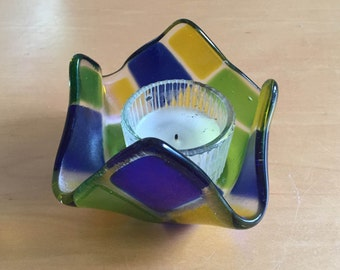 Fused glass candle holder - Blue, yellow, and green