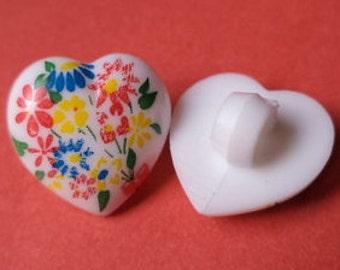 12 mm (3255) button heart white flower 12 small buttons